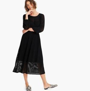 JCrew Point Sur Black Ribbed Midi Dress